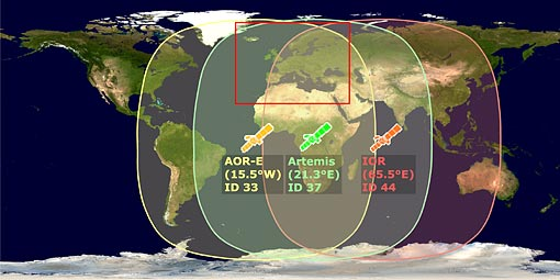 Position and coverage of the planned EGNOS-satellites